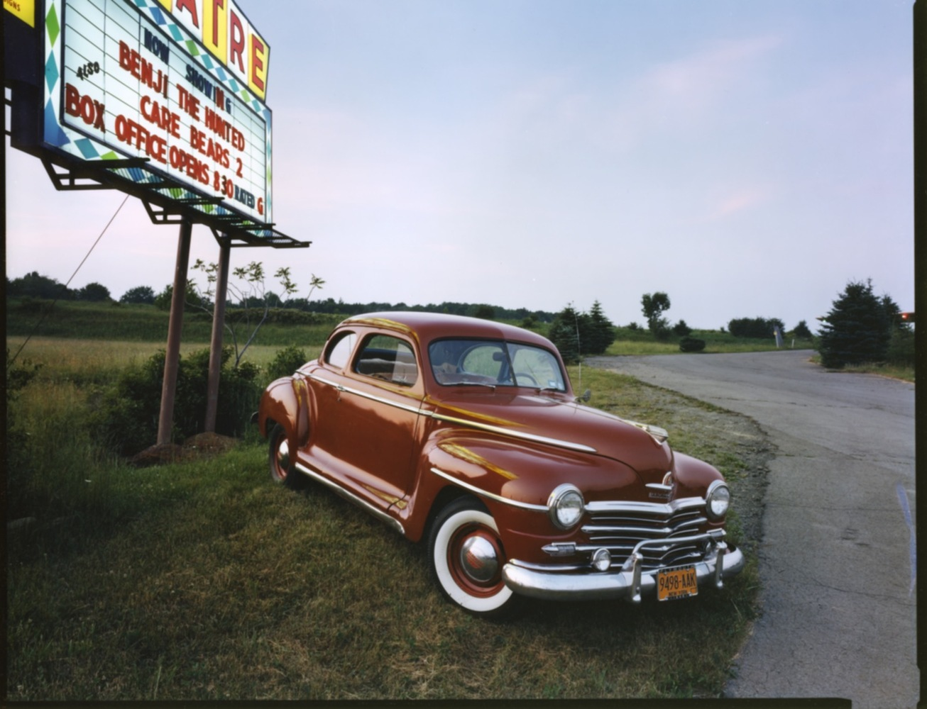 1948 Plymouth Special Deluxe Coupe, Drive-in Theater near Binghamton, NY, c. 1987