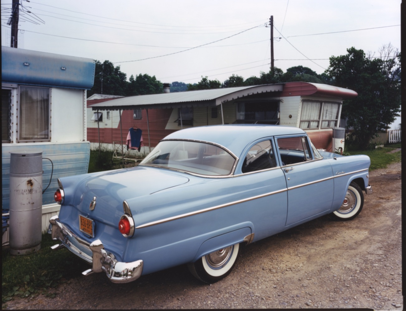 1955 Ford Customline, trailer homes near Binghmaton, NY, c. 1987