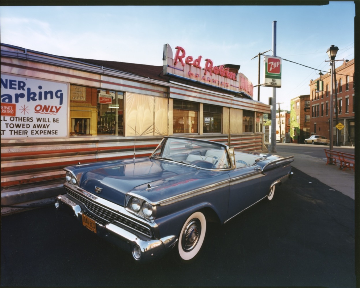 1959 Ford Skyliner, Red Robin Diner, Johnson City, NY, c. 1987